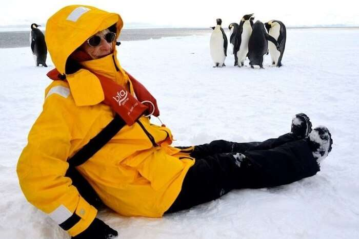 June Scott in Antarctica with Penguins