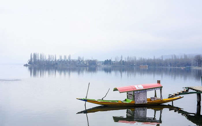 A boat in the middle of a lake in Kashmir