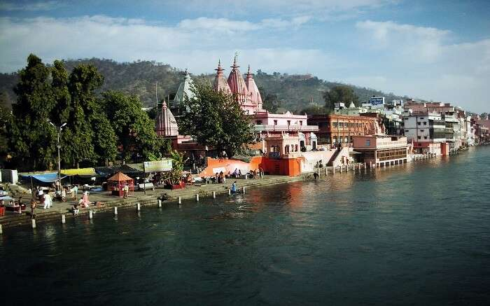A distant view of Vishnu Ghat in Haridwar