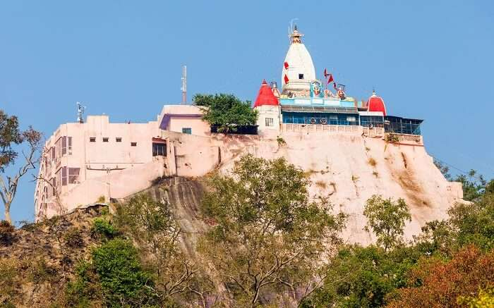 A view of Mansa Devi Temple atop the hill in Haridwar