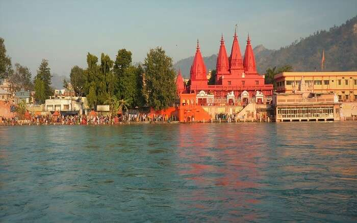 A view of temples in Haridwar by the Ganga river