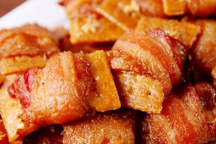 attend the Bacon Festival and eat dishes made out of bacon