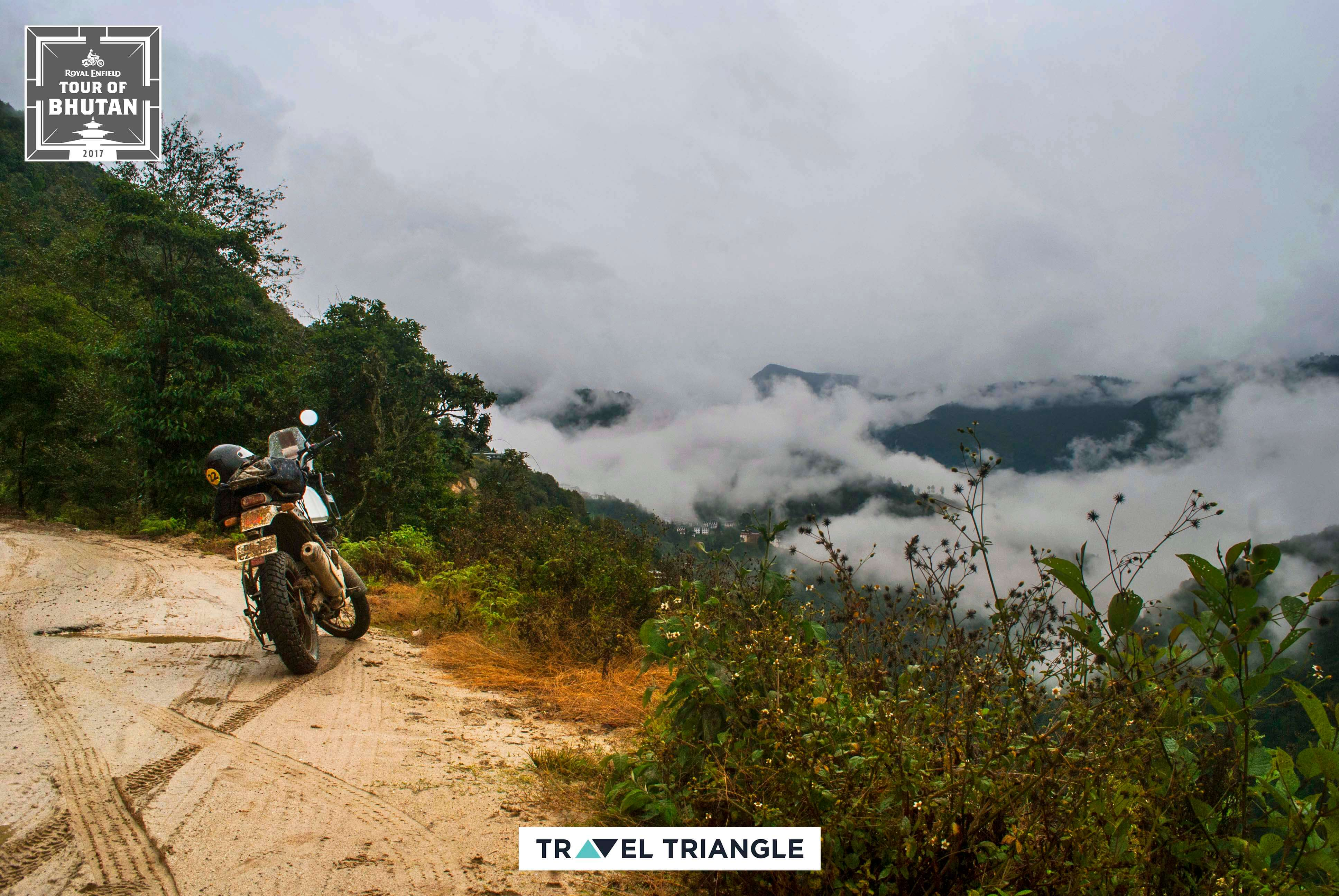 Phobjikha to Bumthang: the RE Himalayan parked on the mountain road