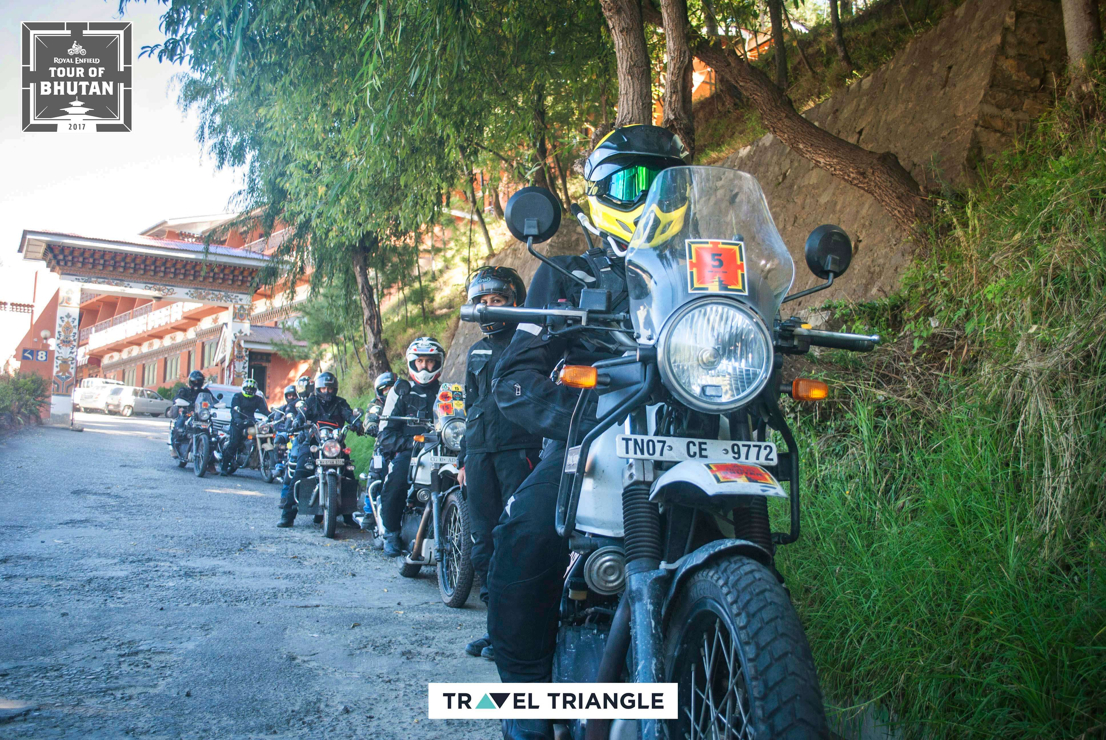 the Royal Enfield Bhutan trip group going from Thimphu to Punakha