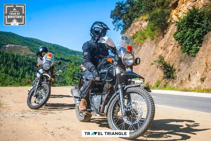 riding in bhutan on the royal enfield trip