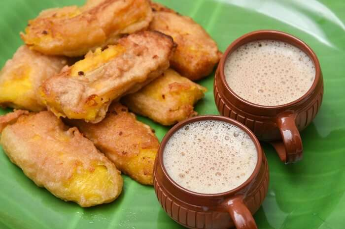 have Ethakka Appam, banana fritters with tea