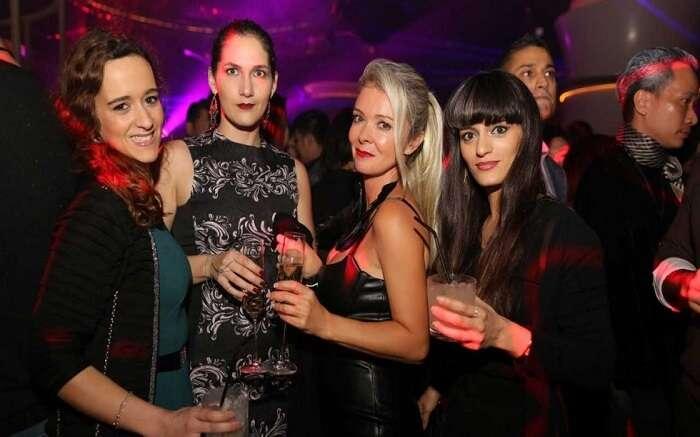 Girls partying at night