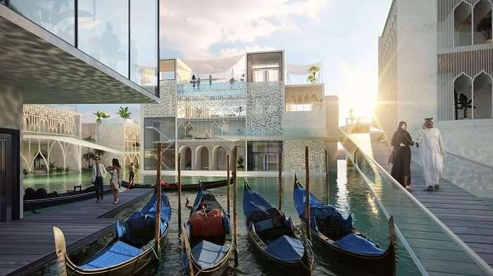 Venetian gondolas in Dubai's underwater resort