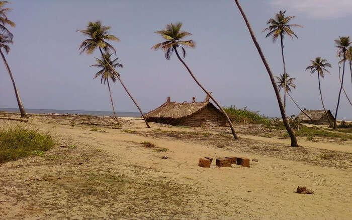 Old huts on a beach
