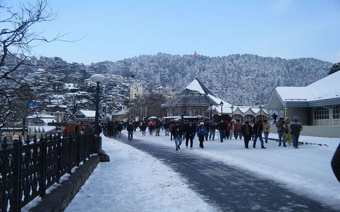 People walking on snowclad roa