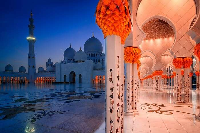 visit the stunning Sheikh Zayed Mosque at night