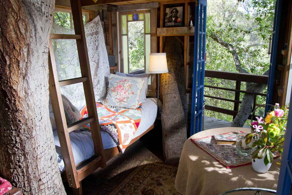 A beautifully decorated room of a Treehouse in San Francisco Bay in California