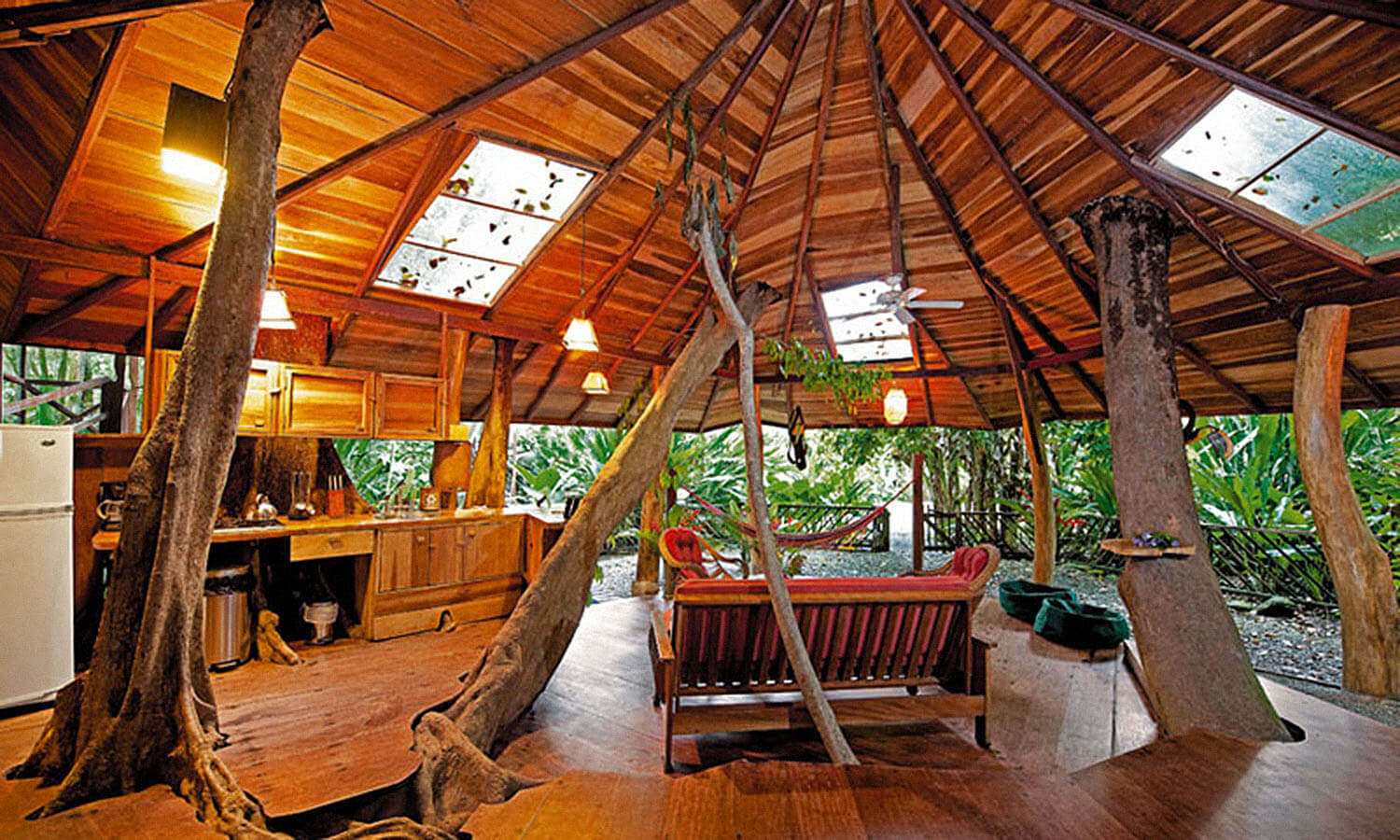 Well lit interiors of Treehouse Lodge in Punta Uva in Costa Rica