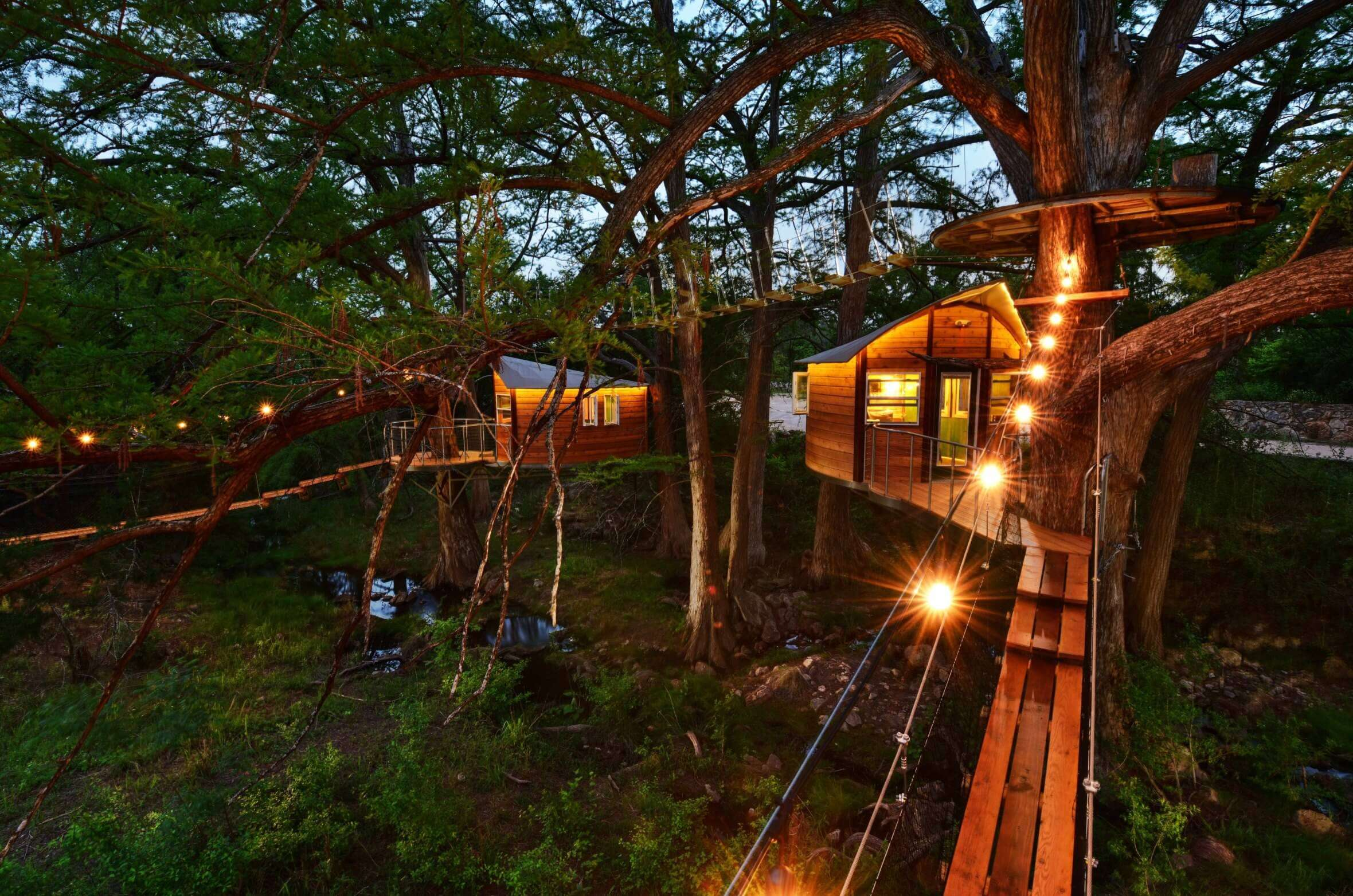 A view of beautiful treehouses in Cypress Valley in Texas