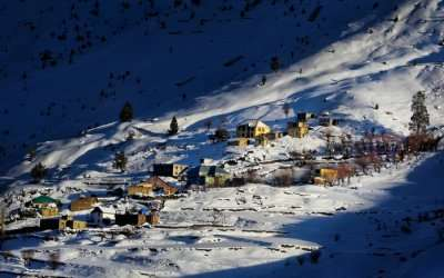 The view of a village in Spiti basking in the sunshine