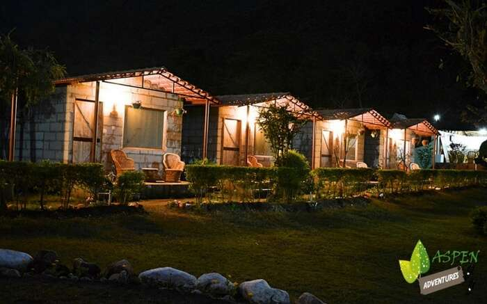 A view of Aspen Adventure camps at night in Rishikesh