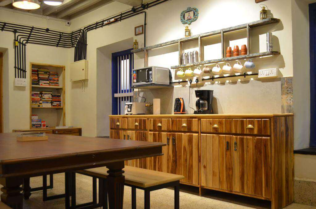 a modern kitchen in a hostel