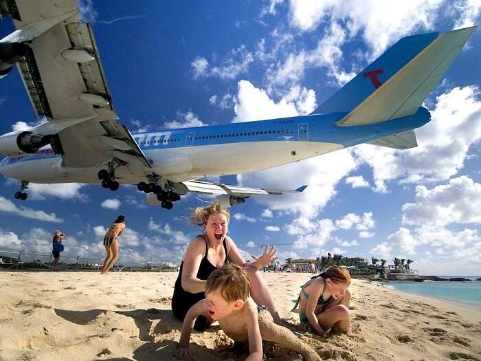 planes flying over beaches