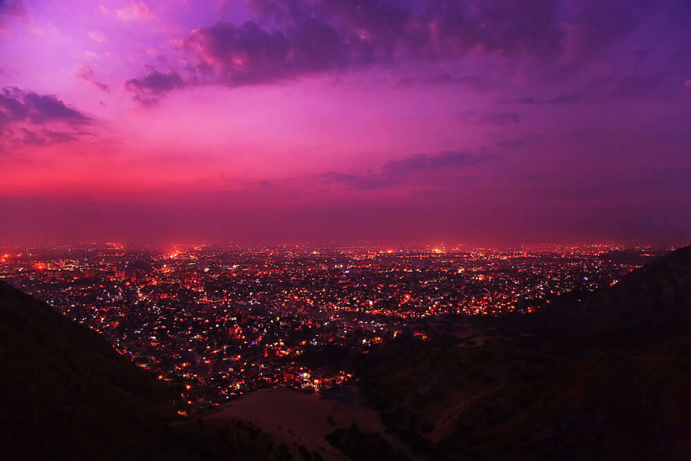 a view of Jaipur city from Nahargarh Fort at night