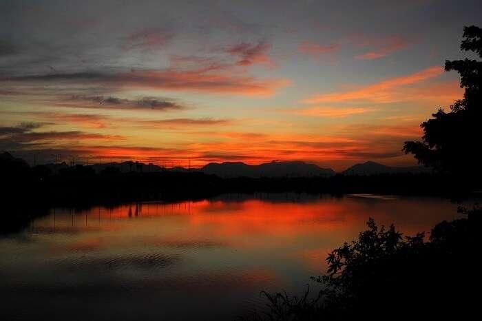 Sunset At Valankulam Lake Coimbatore