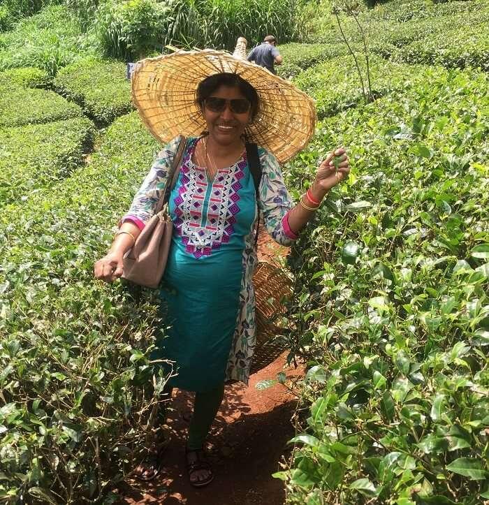 female traveler in Munnar