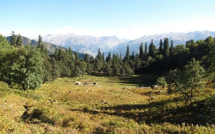 A campsite view en route Lama Dugh Trek on a sunny day