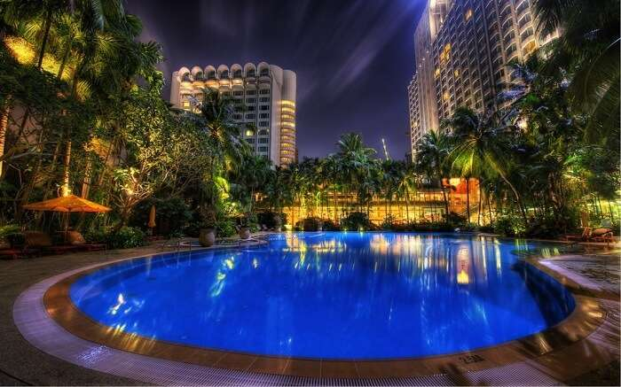 A gorgeous blue pool in a hotel