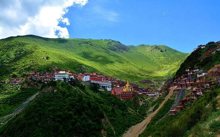 A view of Kartok Monastery lying in the lap of hills in Sikkim