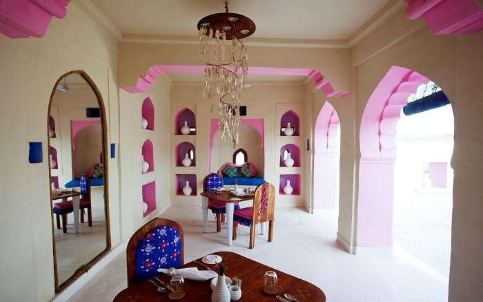 Beautiful dining setting in Lakshman Sagar Resort