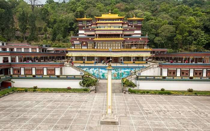 Distant view of Lingdum Monastery in Sikkim