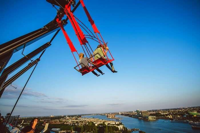 Feel the adrenaline rush in the Europe's Highest Swing, one of the best things to do in amsterdam