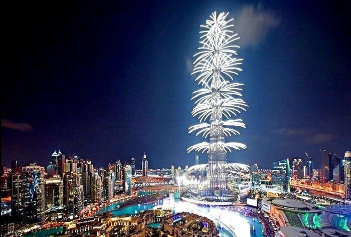 burj khalifa fireworks in dubai
