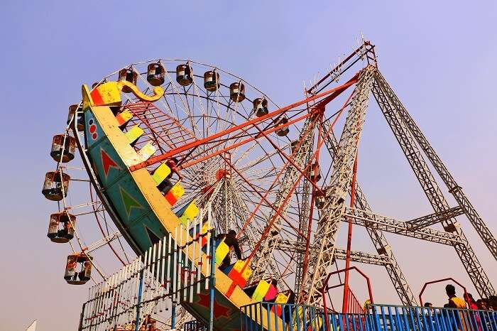 Fun rides at the Amusement Zone of surajkund mela