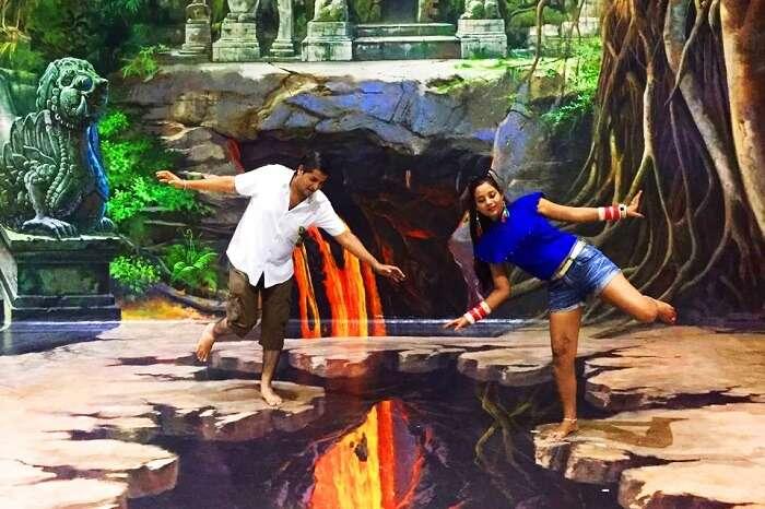 pankaj honeymoon trip to bali: posing at the 3d art museum in bali