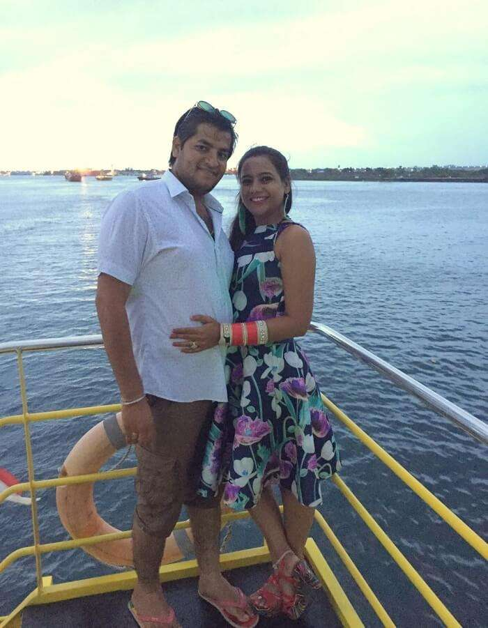 pankaj honeymoon trip to bali: pankaj and wife aboard the sunset dinner cruise