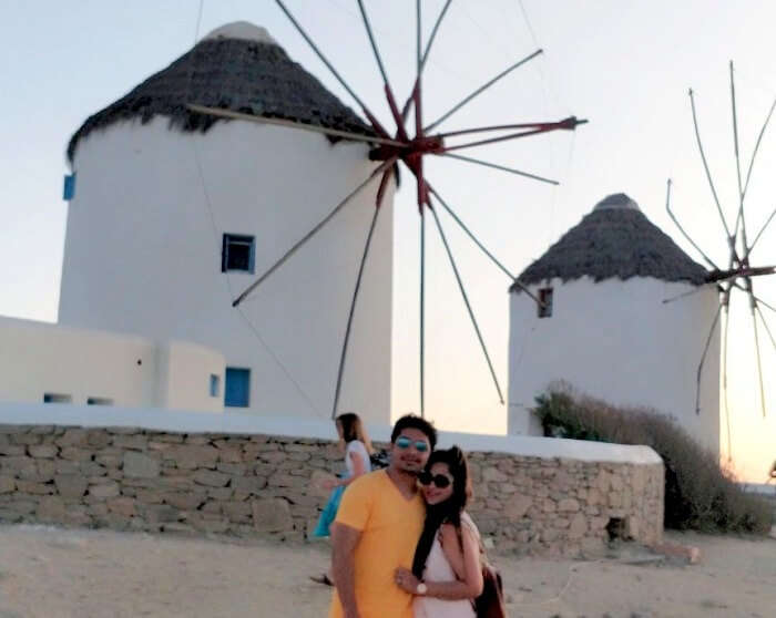 windmills in santorini