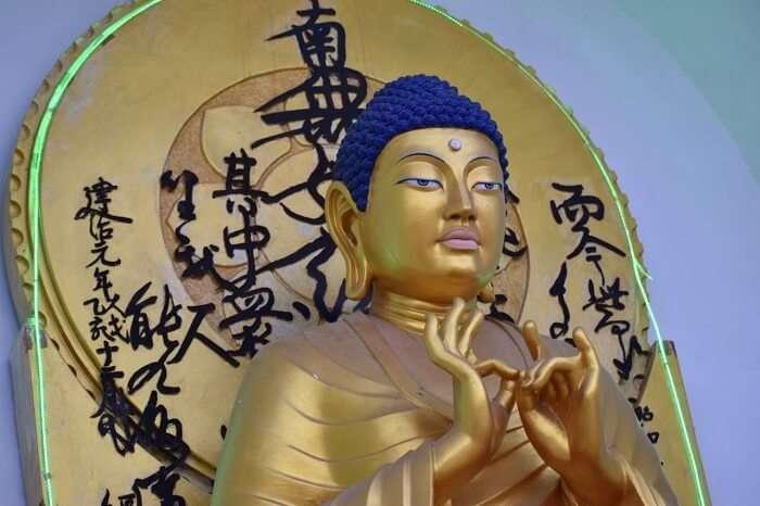 lokpal romantic trip to ladakh: statue of buddha in shanti stupa