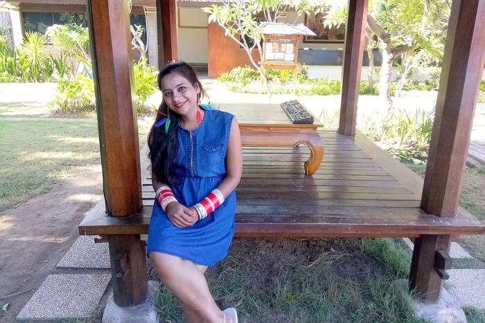 pankaj honeymoon trip to bali: sitting near room