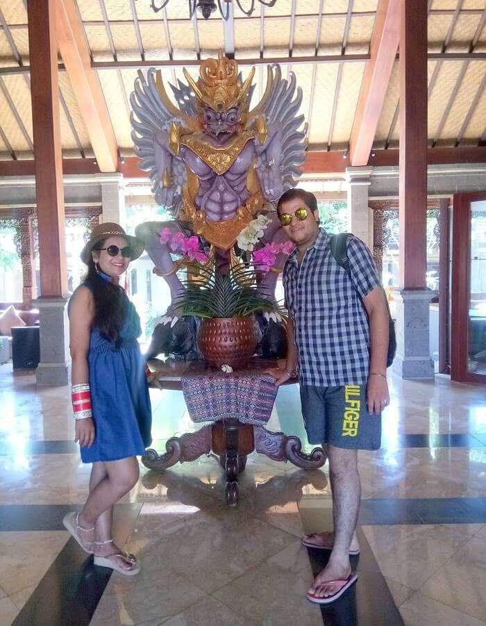 pankaj honeymoon trip to bali: pankaj and wife at hotel in bali