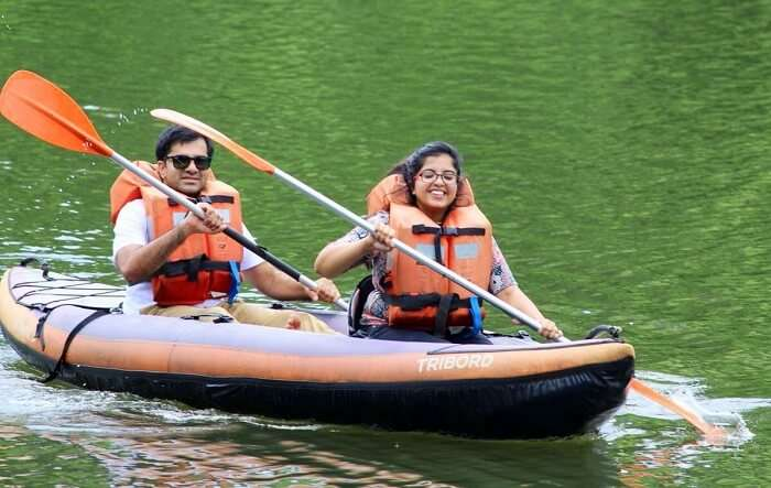 kayaking with friends in munnar