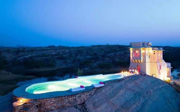 View of Lakshman Sagar Resort in evening