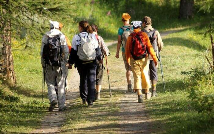 A-group-of-travelers-walking-across-the-meadows-in-Uttarakhand