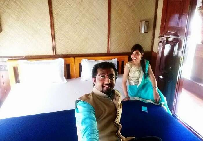 Couple inside a houseboat in Alleppey