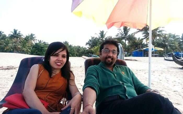 Couple enjoying at a Kerala beach