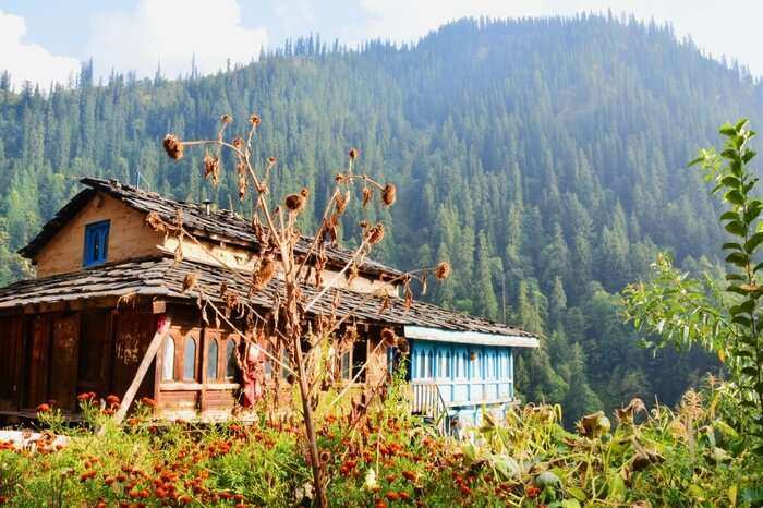 a house on the way to Kheerganga in mountains