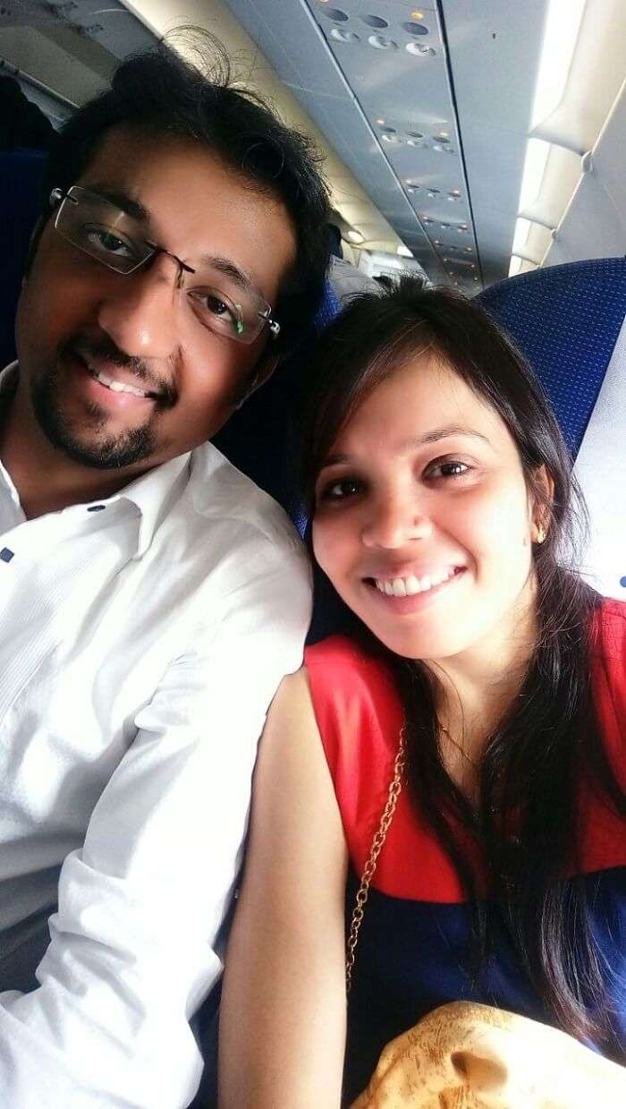 couple on a flight