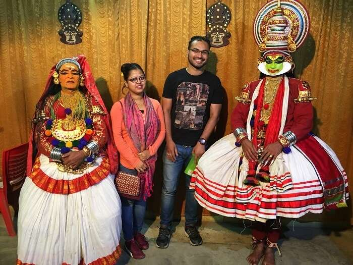 Couple enjoys Kathakali performance