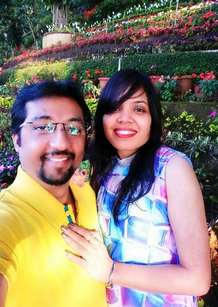 Couple at hidden garden in Munnar