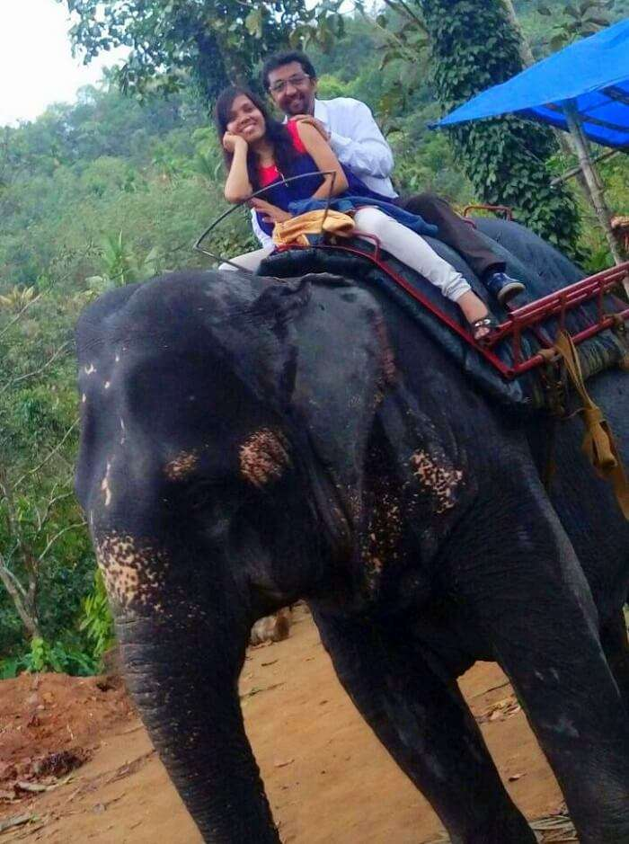 Couple enjoying an Elephant ride