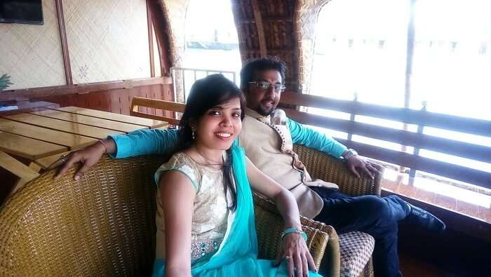 Couple in a houseboat in Alleppey